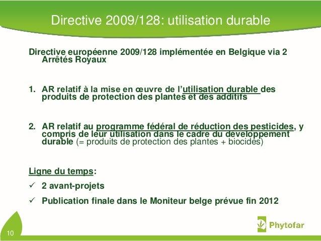 Directive européenne 2009/128 implémentée en Belgique via 2Arrêtés Royaux1. AR relatif à la mise en œuvre de l'utilisation...