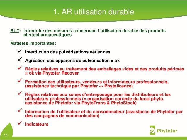 1. AR utilisation durableBUT: introduire des mesures concernant l'utilisation durable des produitsphytopharmaceutiquesMati...