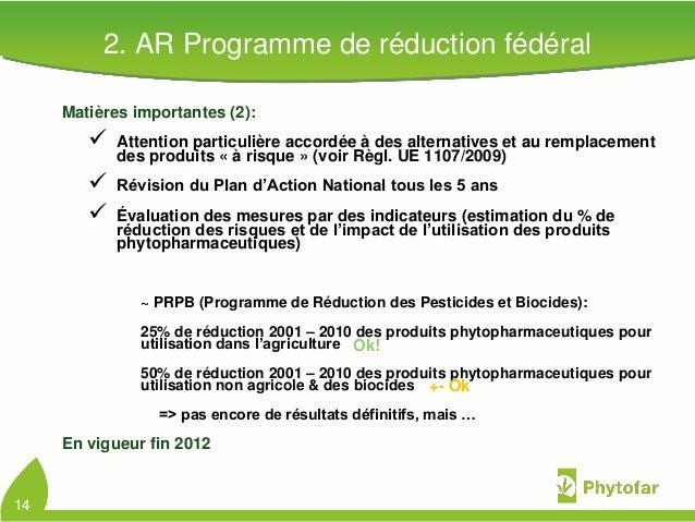 2. AR Programme de réduction fédéralMatières importantes (2): Attention particulière accordée à des alternatives et au re...