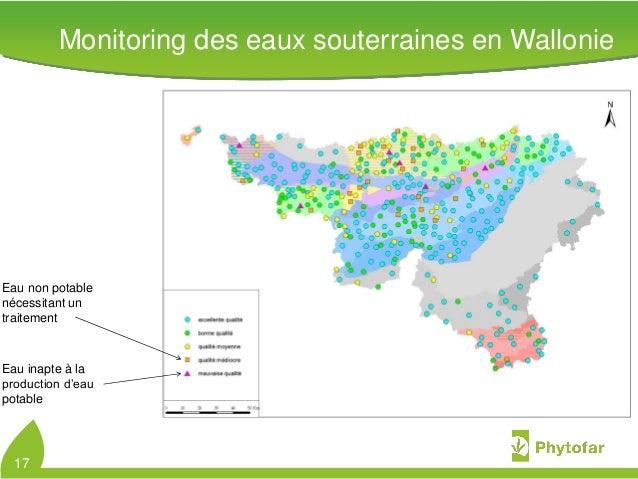 17Eau non potablenécessitant untraitementEau inapte à laproduction d'eaupotableMonitoring des eaux souterraines en Walloni...