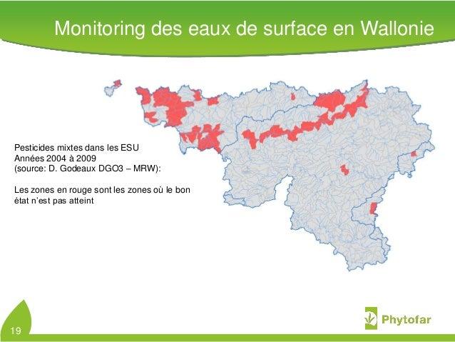 Pesticides mixtes dans les ESUAnnées 2004 à 2009(source: D. Godeaux DGO3 – MRW):Les zones en rouge sont les zones où le bo...