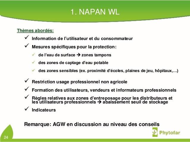 1. NAPAN WLThèmes abordés: Information de l'utilisateur et du consommateur Mesures spécifiques pour la protection: de l...