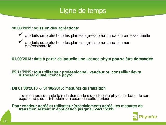Ligne de temps18/08/2012: scission des agréations: produits de protection des plantes agréés pour utilisation professionn...