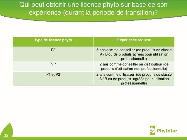 Qui peut obtenir une licence phyto sur base de sonexpérience (durant la période de transition)?Type de licence phyto Expér...