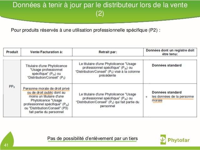 Données à tenir à jour par le distributeur lors de la vente(2)41Pour produits réservés à une utilisation professionnelle s...
