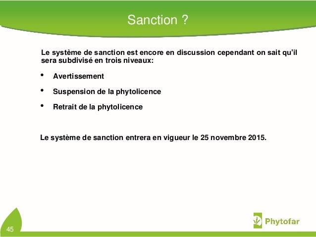Sanction ?Le système de sanction est encore en discussion cependant on sait qu'ilsera subdivisé en trois niveaux:• Avertis...