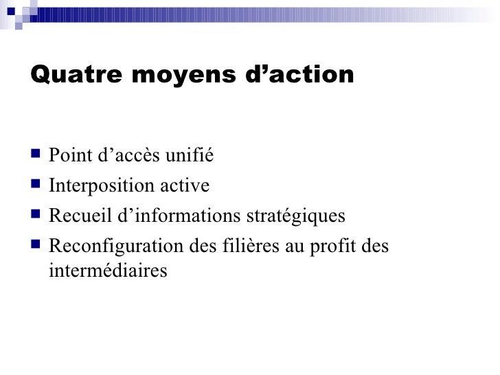 Quatre moyens d'action <ul><li>Point d'accès unifié </li></ul><ul><li>Interposition active </li></ul><ul><li>Recueil d'inf...