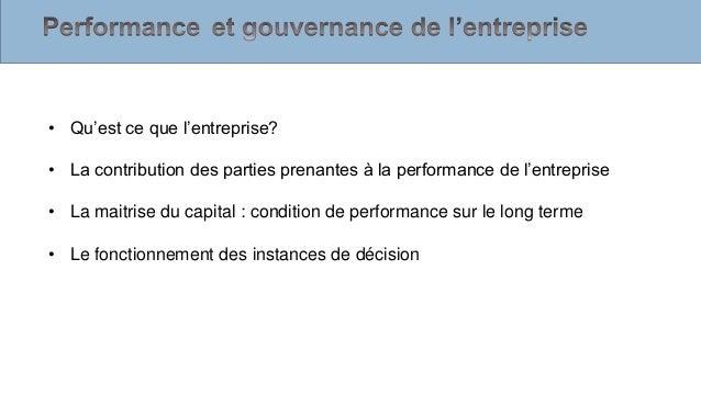 Performance Et Gouvernance De L Entreprise