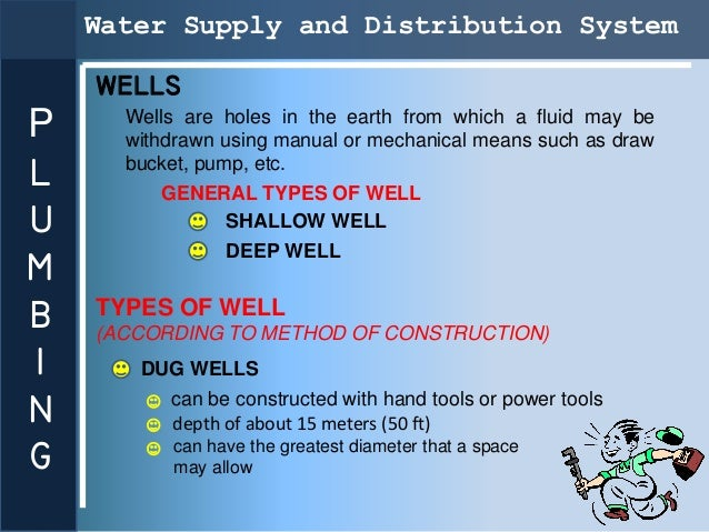 Water Supply and Distribution System    WELLSP     Wells are holes in the earth from which a fluid may be      withdrawn u...