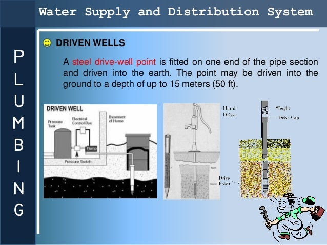 Water Supply and Distribution System      DRIVEN WELLSP      A steel drive-well point is fitted on one end of the pipe sec...