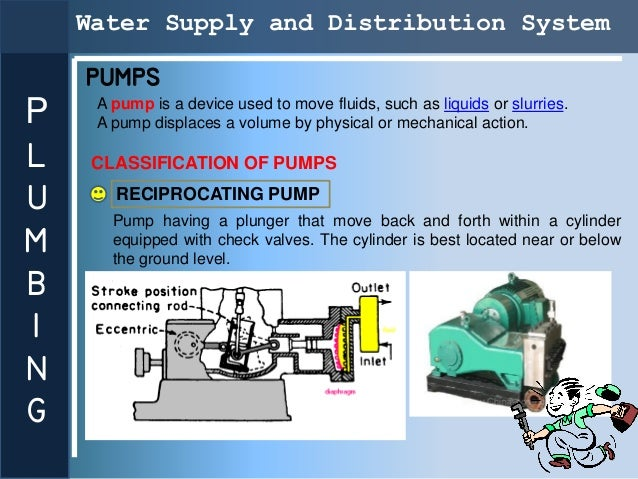 Water Supply and Distribution System    PUMPS     A pump is a device used to move fluids, such as liquids or slurries.P   ...