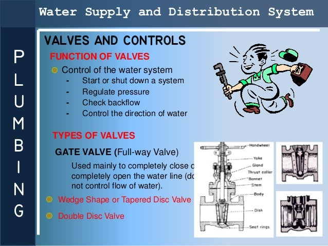 Water Supply and Distribution System    VALVES AND CONTROLSP    FUNCTION OF VALVES       Control of the water systemL     ...
