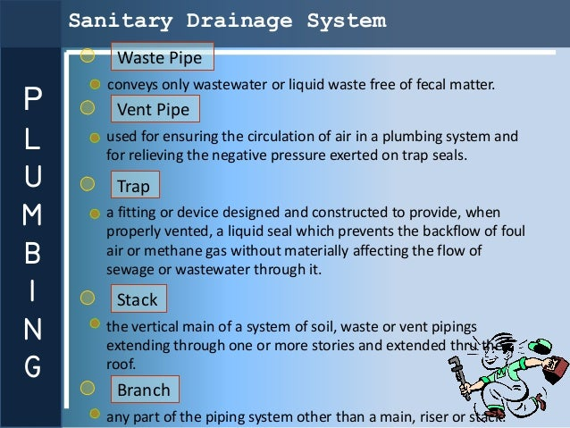 Sanitary Drainage System        Waste Pipe       conveys only wastewater or liquid waste free of fecal matter.P       Vent...