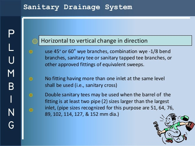 Sanitary Drainage SystemP      Horizontal to vertical change in directionL       use 45° or 60° wye branches, combination ...