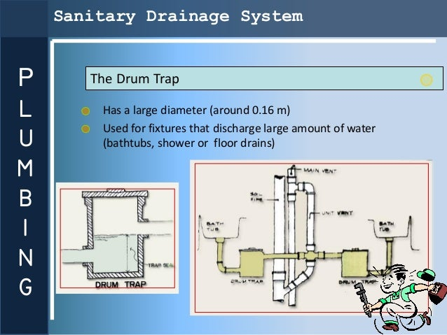 Sanitary Drainage SystemP      The Drum TrapL       Has a large diameter (around 0.16 m)        Used for fixtures that dis...