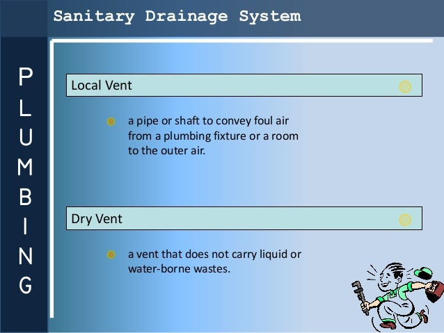 Sanitary Drainage SystemP    Local VentL               a pipe or shaft to convey foul airU               from a plumbing f...