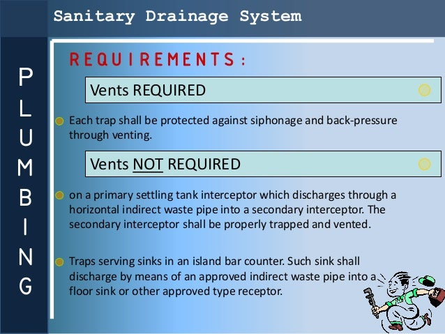 Sanitary Drainage System     REQUIREMENTS:P        Vents REQUIREDL    Each trap shall be protected against siphonage and b...
