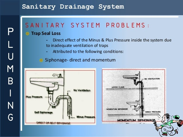 Sanitary Drainage System    SANITARY SYSTEM PROBLEMS:P     Trap Seal Loss             - Direct effect of the Minus & Plus ...