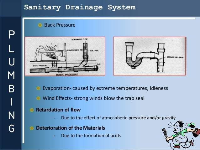 Sanitary Drainage System         Back PressurePLUMB       Evaporation- caused by extreme temperatures, idlenessI        Wi...