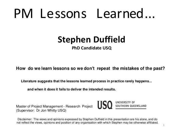 PM L e sson s L earned ...                                Stephen Duffield                                           PhD C...
