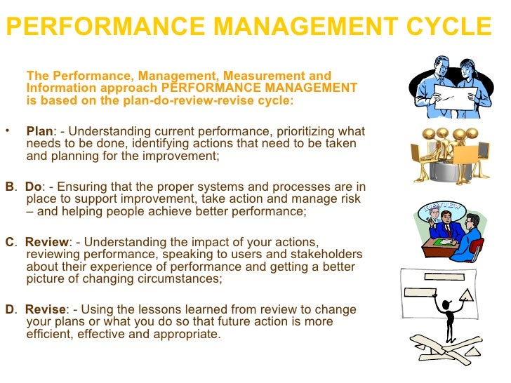 PERFORMANCE MANAGEMENT CYCLE <ul><li>The Performance, Management, Measurement and Information approach PERFORMANCE MANAGEM...