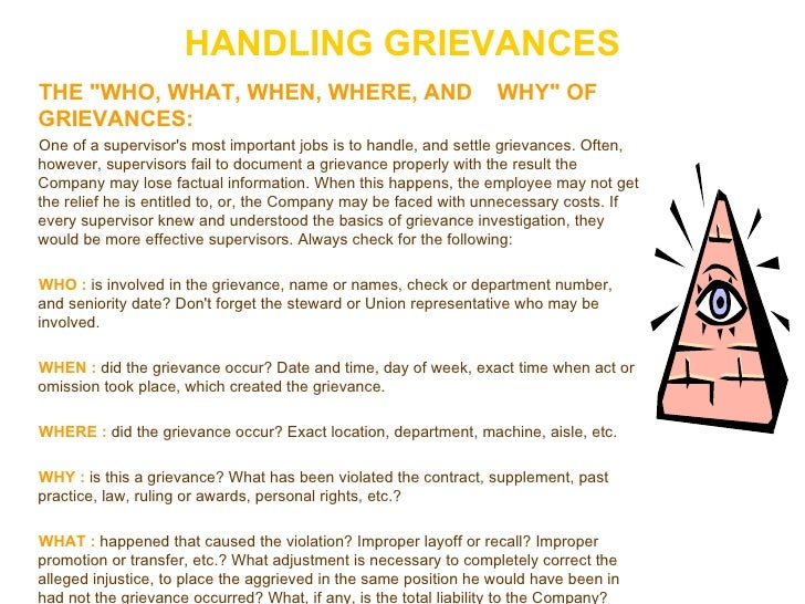 HANDLING GRIEVANCES <ul><li>THE &quot;WHO, WHAT, WHEN, WHERE, AND  WHY&quot; OF GRIEVANCES:   </li></ul><ul><li>One of a s...