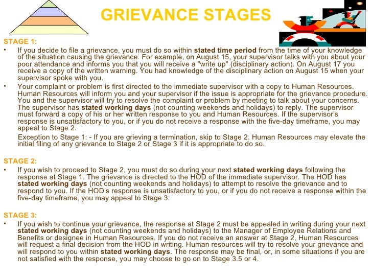 GRIEVANCE STAGES <ul><li>STAGE 1:  </li></ul><ul><li>If you decide to file a grievance, you must do so within  stated time...