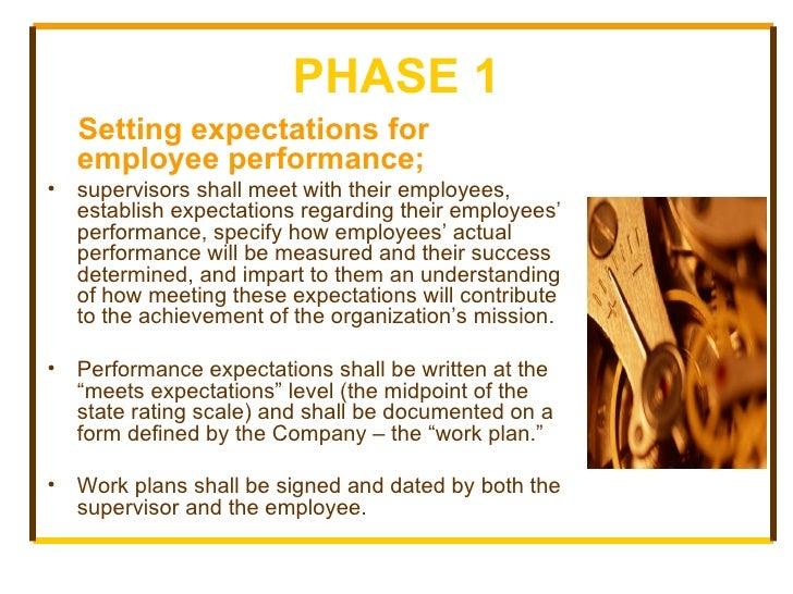 PHASE 1 <ul><li>Setting expectations for employee performance; </li></ul><ul><li>supervisors shall meet with their employe...