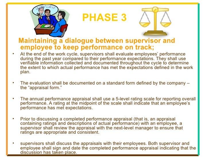 PHASE 3 <ul><li>Maintaining a dialogue between supervisor and employee to keep performance on track; </li></ul><ul><li>At ...