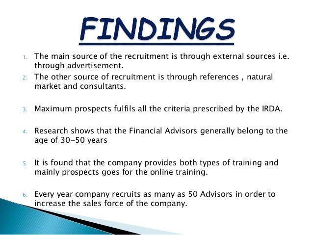 Findings about recruitment and selection