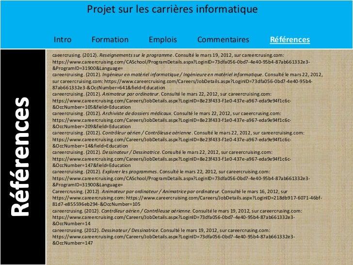 Projet sur les carrières informatiqueIntro             Formation                 Emplois               Commentaires       ...