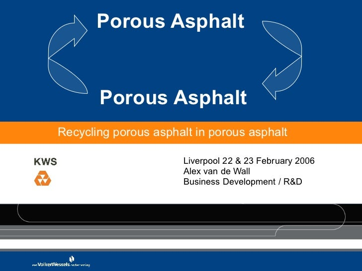 Porous Asphalt  Porous Asphalt Liverpool 22 & 23 February 2006 Alex van de Wall Business Development / R&D Recycling porou...