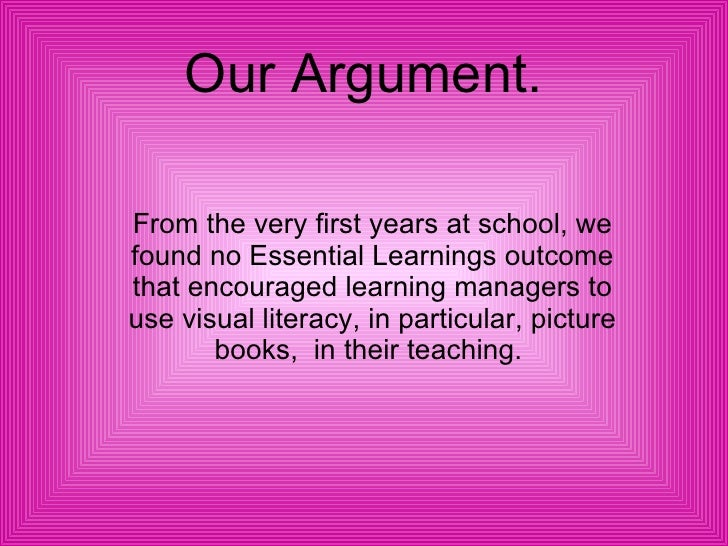 Our Argument. From the very first years at school, we found no Essential Learnings outcome that encouraged learning manage...