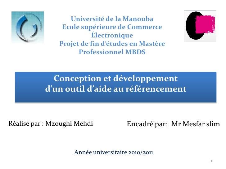 Université de la Manouba                 Ecole supérieure de Commerce                          Électronique               ...