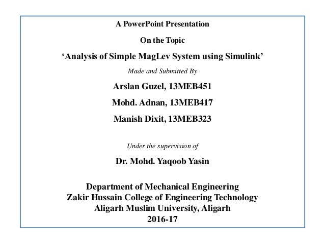 Analysis of Simple Maglev System using Simulink