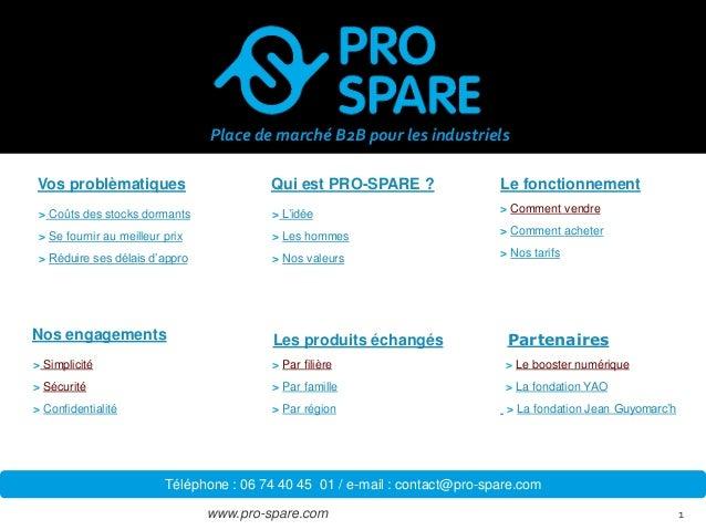 www.pro-spare.com  1  Qui est PRO-SPARE ?  Vos problèmatiques  Les produits échangés  Le fonctionnement  Nos engagements  ...