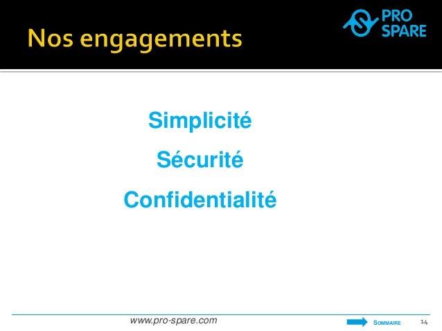 Simplicité  Sécurité  Confidentialité  www.pro-spare.com 14  SOMMAIRE