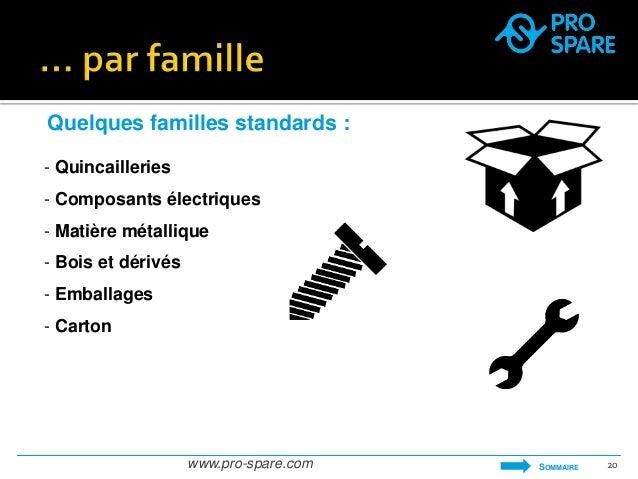Quelques familles standards :  - Quincailleries  - Composants électriques  - Matière métallique  - Bois et dérivés  - Emba...