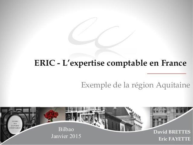 Page 1 ERIC - L'expertise comptable en France David BRETTES Eric FAYETTE Exemple de la région Aquitaine Bilbao Janvier 2015
