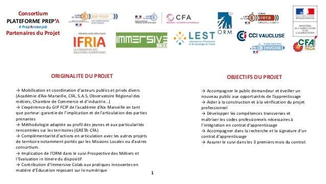 Consortium PLATEFORME PREP'A # Prép'Aretonjob Partenaires du Projet 1 ORIGINALITE DU PROJET → Mobilisation et coordination...