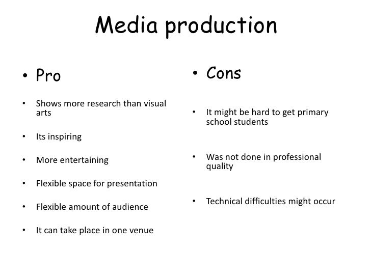 presentation pros and cons 3 media production• pro • cons•