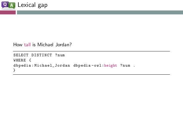 Lexical gap How tall is Michael Jordan? SELECT DISTINCT ?num WHERE { dbpedia:Michael_Jordan dbpedia -owl:height ?num . }