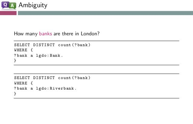 Ambiguity How many banks are there in London? SELECT DISTINCT count (? bank) WHERE { ?bank a lgdo:Bank. } SELECT DISTINCT ...