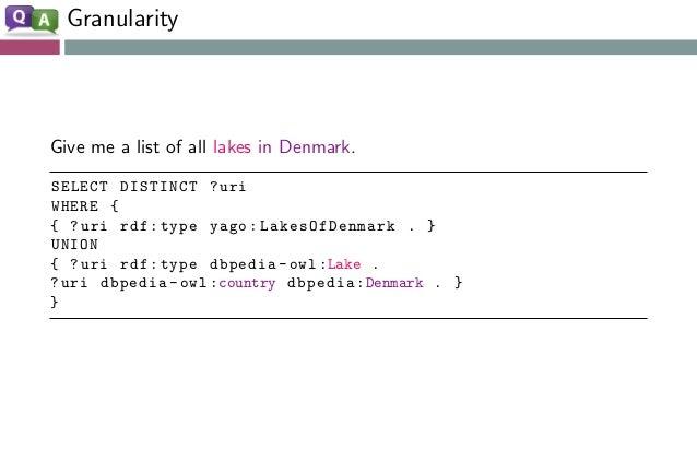 Granularity Give me a list of all lakes in Denmark. SELECT DISTINCT ?uri WHERE { { ?uri rdf:type yago:LakesOfDenmark . } U...