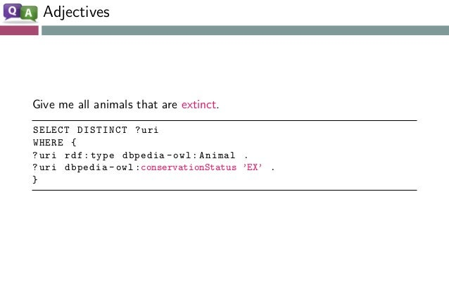 Adjectives Give me all animals that are extinct. SELECT DISTINCT ?uri WHERE { ?uri rdf:type dbpedia -owl:Animal . ?uri dbp...