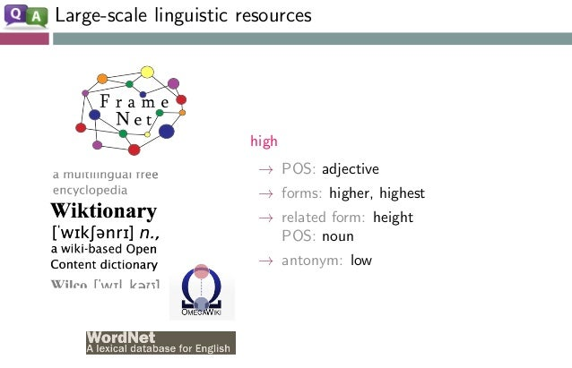 Large-scale linguistic resources high → POS: adjective → forms: higher, highest → related form: height POS: noun → antonym...
