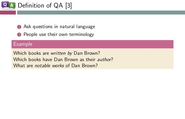 Definition of QA [3] 1 Ask questions in natural language 2 People use their own terminology Example Which books are written...