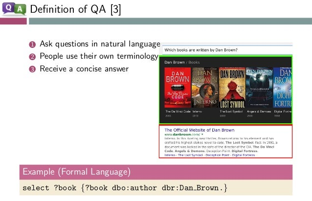Definition of QA [3] 1 Ask questions in natural language 2 People use their own terminology 3 Receive a concise answer Exam...