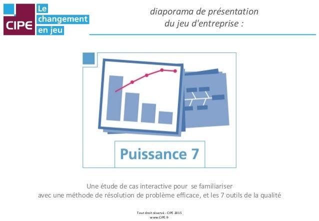 Tout droit réservé - CIPE 2015 www.CIPE.fr diaporama de présentation du jeu d'entreprise : Une étude de cas interactive po...