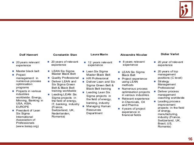 16 20 years relevantexperience Master black belt Projectmanagement innumerous processoptimisationprograms Projects in ...